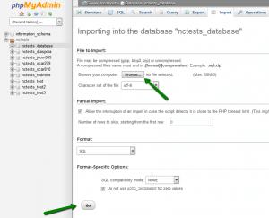 Transfer WordPress import database